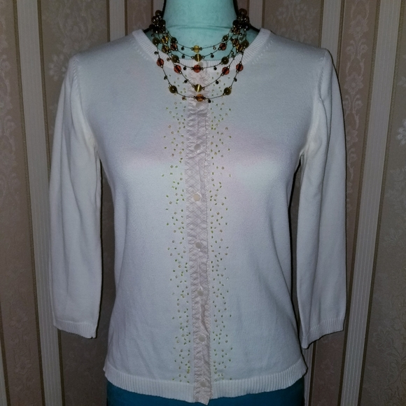 unknown Sweaters - 3/$10 Cream Cardigan Sweater w/ Beads Design Small